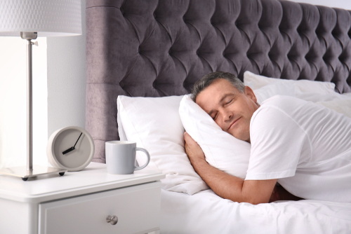 Middle-aged man sleeping soundly